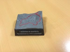 Trofeo de carrera de montaña en ABS, medidas 8x4 cm.
