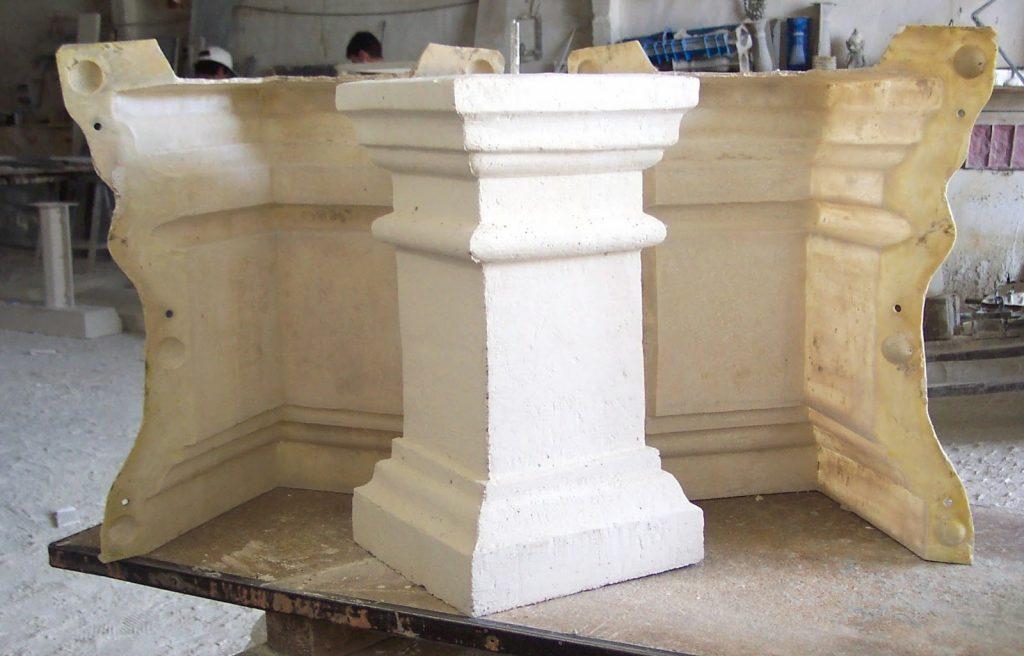 pieza en piedra artificial mediante un molde de silicona flexible