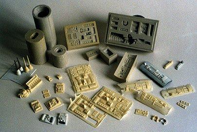 ejemplos de moldes de silicona y copias en resina
