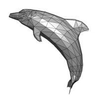 Obtención de modelos 3D. Ejemplo de malla de baja resolución que representa un delfín.