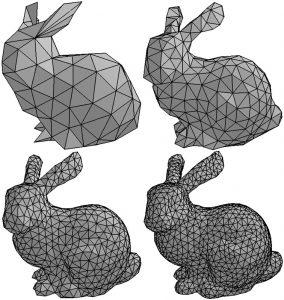 Obtener Modelo 3D. Ejemplo del mismo modelo representado con diferentes resoluciones.